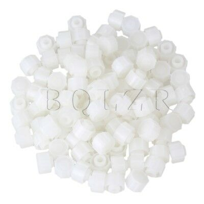 100pcs White Round Airtight Dispensing Industrial Syringe Tip Caps Screw Type