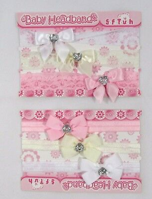 Baby Girls Headbands Hair Accessory Bowknot Christening Heart Lace Bow 3 Pack NB