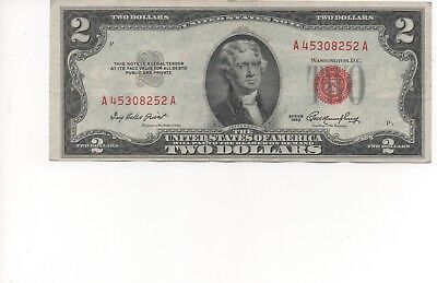1953 $2 Dollar Bill Old Us Note Legal Tender Paper Money Currency