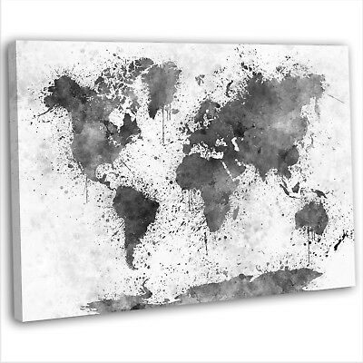 Map Of The World Abstract Watercolour Canvas Print Framed Wall Art Picture B&W