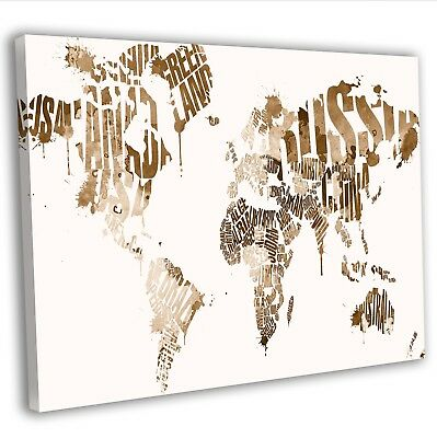 Map Of The World In Text Typography Canvas Print Framed Wall Art Picture Brown