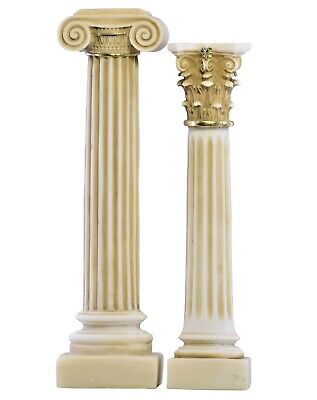 Set 2 Greek Columns Ionic & Corinthian style Pillar Pedestal Decor Sculpture