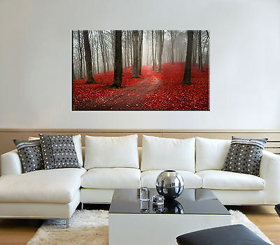 Autumn leaves print on canvas, forest wall art, red leaves print on canvas decor