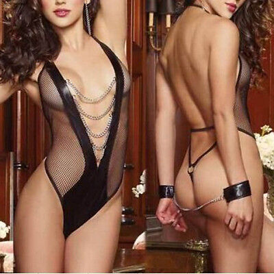 Sexy Womens Teddy Lingerie Dominatrix Faux Leather Fishnet/Chains Handcuff.Adult