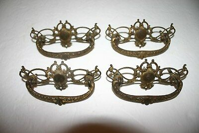 Antique Victorian Lot 4 Brass Dresser Cabinet Drawer Pulls Handle Ornate Hardwar