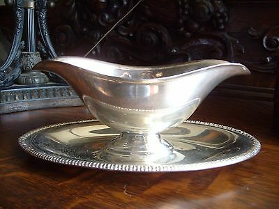 Silver Plate Gravy Sauce Boat with attached Tray unmarked