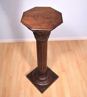 Antique French Corinthian Display Pedestal/Plant Stand or Pillar/Column in Oak