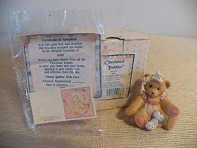 Cherished Teddies Amy, Hearts Quilted With Love, Girl Bear with Hearts