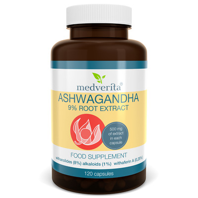 Ashwagandha 500mg Indian Ginseng Strong Root Extract 7% Withanolides - 120 caps