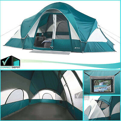 8 Person Ozark Trail 2 Room Dome Tent Family Outdoor Camping Easy Setup Shelter