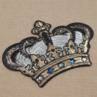 DIY Crown Shaped Sequin Sticker Patch Iron Clothes Bag Embroidery Badge Decor
