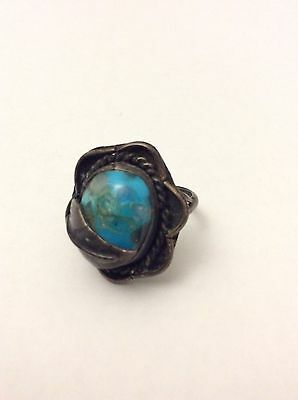 Rare Vintage Native American Navajo/Old Pawn Sterling Turquoise Ring Size 6.5