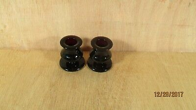 "Vintage Pair Deep Purple Amethyst Glass Candle Holders 2 1/2"" High"