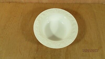 "Vintage Milk-White Glass Bowl Dish w Raised Flowers Rose Leaves 6 1/8"" D"