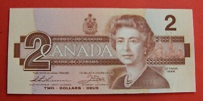 1986 $2 Bank of Canada Thiessen-Crow AUK Better Prefix - 44.95 Ch UNC