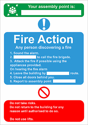 Fire Action - Fire Assembly Point A5/a4/a3 Sticker Or Foamex Fire Safety Signs