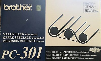 Brother Model PC301 Cartridges, Pack Of 2 NEW Genuine Brother PC-301 free ship