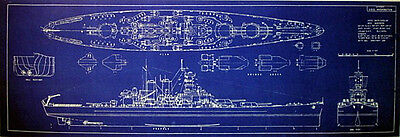 US Navy WW2 Battleship USS Washington BB-56 1941 Blueprint Plan 18x38  (155)