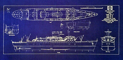 "Grace Line Ocean Liner ss Santa Rosa 1958 Blueprint Plan Drawing 10""x25"" (287)"