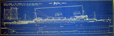 Vintage Passenger Ship SS America 1939 Print Blueprint Plans 2 pages (092)
