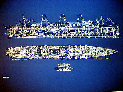 "UNITED STATES LINES Ship SS Leviathan 1914 Blueprint Plan Drawing 22""x32"" (053)"