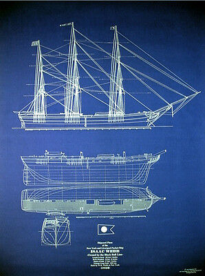 Vintage Sailing Ship Isaac Webb 1850 Print Blueprint Plan Drawings 24x34  (041)
