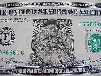 One Santa Claus Uncirculated $1 one dollar bill legal tender 1988A with Envelope