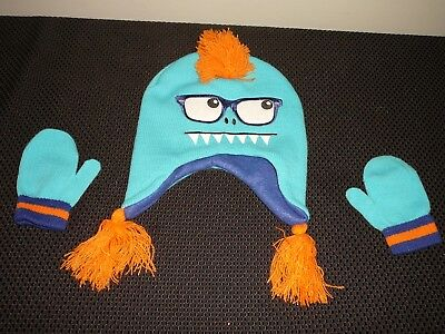 """New~Boys Winter """"silly Monster"""" Hat & Gloves Set(Teal/blue)One Size Fits All!!"""