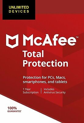 McAfee Total Protection 2018 2019 - Unlimited* Devices, 1 Year Subscription