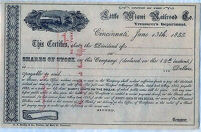 Little Miami Railroad Company Stock Certificate Ohio 1855 Dividend