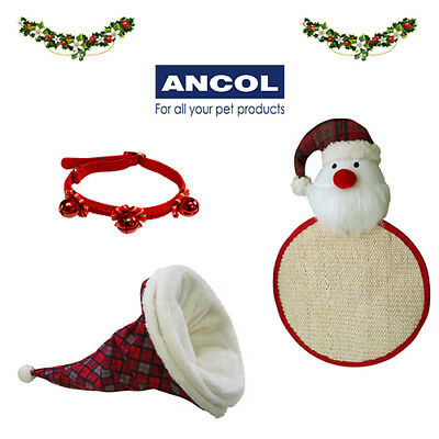 Ancol Cat Christmas Xmas Gift Stocking Filler Toy Collar Hat Scratch Pad Funny