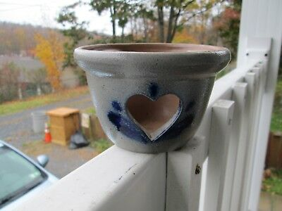 (Base Only) Rowe Pottery Works Tart Warmer Candle Heart Salt Glazed>NICE!!