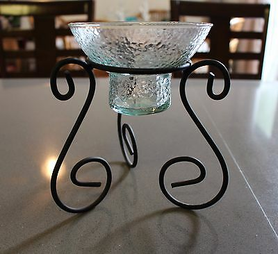 Vintage Glass Votive Tealight Candle Holder Black Metal Base Set Beautiful!