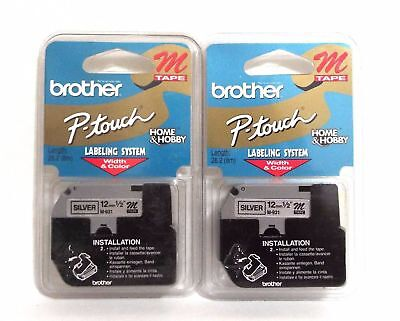 "Lot of 2 Brother Tape Cartridges 1/2"" IN Wide Non-laminated Silver M931"