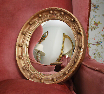 A Fine & Large Antique Early c20th Gilded Butler's Convex Mirror