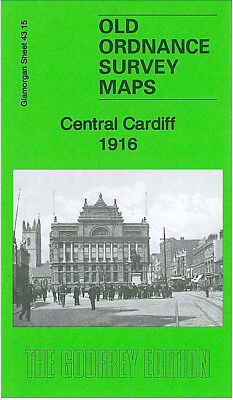Old Ordnance Survey Map Central Cardiff 1916 Clare Street Sophia Street Newtown