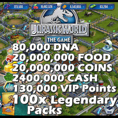Jurassic WORLD The Game Builder IOS Android DNA Coins Food Packs VIP Notes