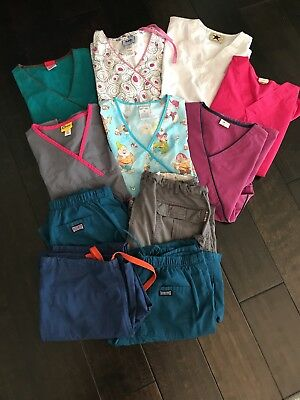 Womens Scrubs Lot 11 Items for tops and bottoms Dickies Disney Koi Cherokee Wink