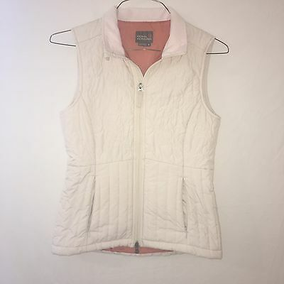 Royal Robbins Women's Quilted Vest Size Small Cream Front Zipper Hiking.