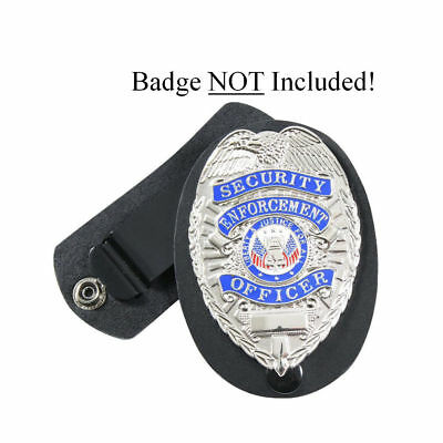 Leather Security Guard Loss Prevention Police Detective Badge Shield Belt Holder
