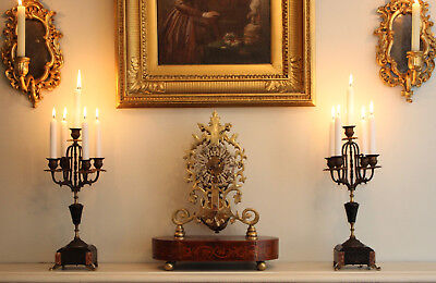 A Fine Pair of c19th Antique Five Arm Mantel Candelabra, Marble, Gilt Brass