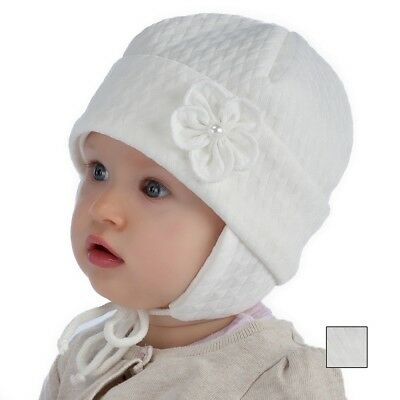 Spring baby hat Christening white hat little girl size 40, 42, 44, 3-9 months