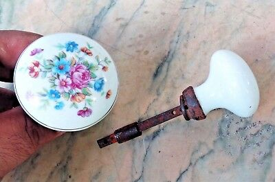 Antique Vintage Porcelain Door Knob w/ Spindle Floral Hand Painted Design