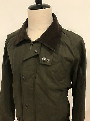 Lands End Mens Waxed Cotton Field Jacket Plaid Lining Like Barbour Size Large