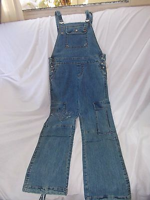 girls coveralls, overalls, denim with bling cargo style, nwt sz 14
