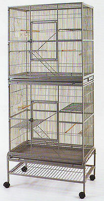 LARGE TALL Double Wrought Iron Animal Cage Bird Cockatiel Ferret Sugar Glider681