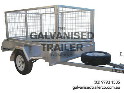 7x4 Single Axle Box Trailer Galvanised W/ 300mm Checker Plat Sides & 800mm Cage