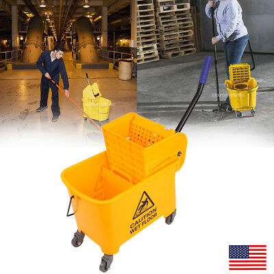 Professional Industrial 20l Wringer Mop Bucket Wheel Kitchen Commercial Combo
