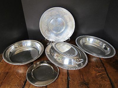 Lot of Vintage Silverplate Serving Trays and Bowls