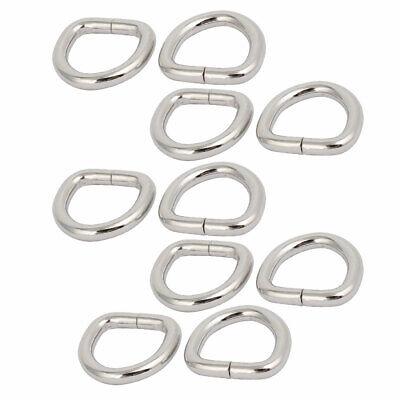 20mm Inner Width Zinc Alloy Thickening Non Welded D Ring Silver Tone 10pcs